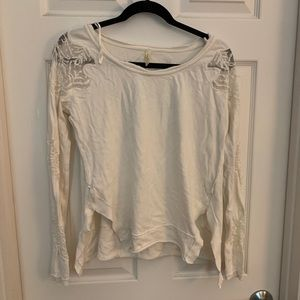 Free people open back lace sleeve top